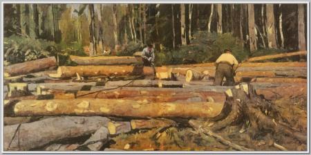 """""""На лесосеке"""", 1949г."""